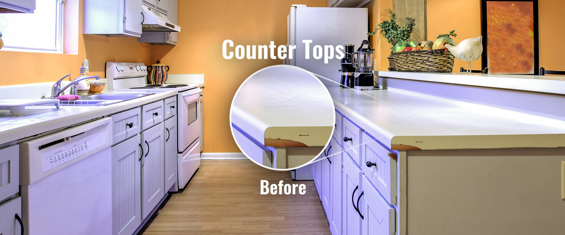 First slide, laminate countertop with a chipped corner.